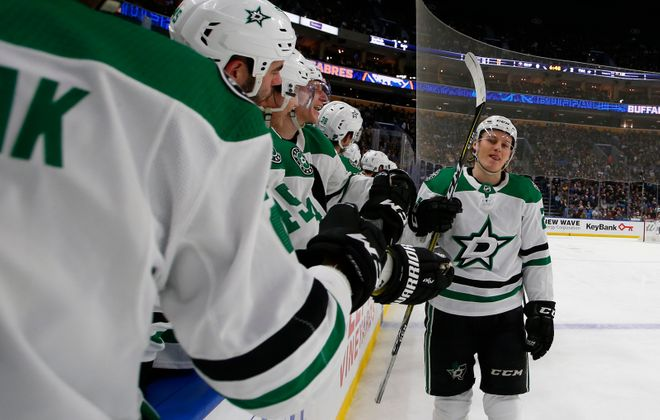 Stars winger Roope Hintz is congratulated on his second goal of the game against the Sabres during the second period at KeyBank Center on Tuesday, March 12, 2019. (Harry Scull Jr./Buffalo News)