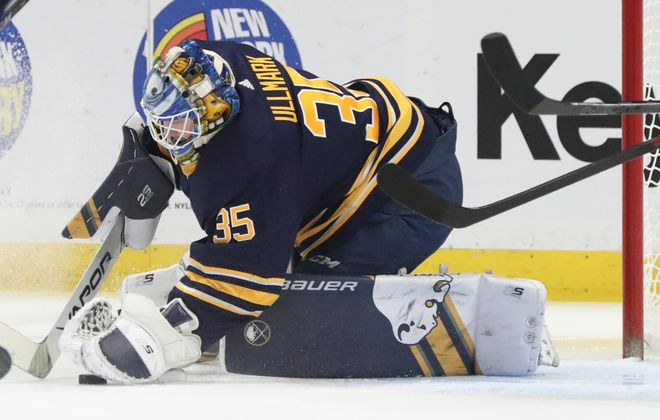 Buffalo Sabres goaltender Linus Ullmark makes a save in the first period at KeyBank Center on Thursday, March 28, 2019. (James P. McCoy/Buffalo News)