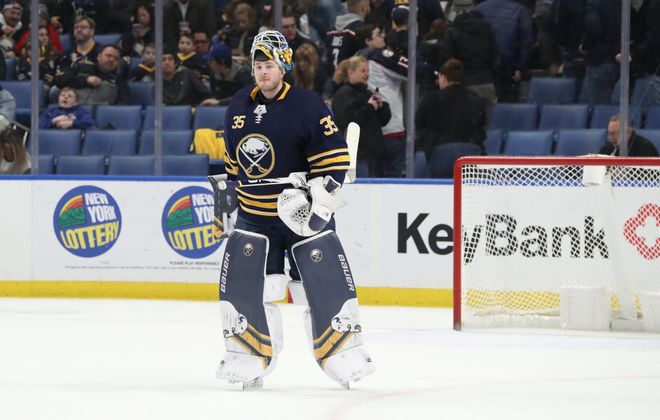 Buffalo Sabres goaltender Linus Ullmark leaves the ice at the end of the first period in KeyBank Center on Sunday, March 31, 2019. (James P. McCoy/Buffalo News)