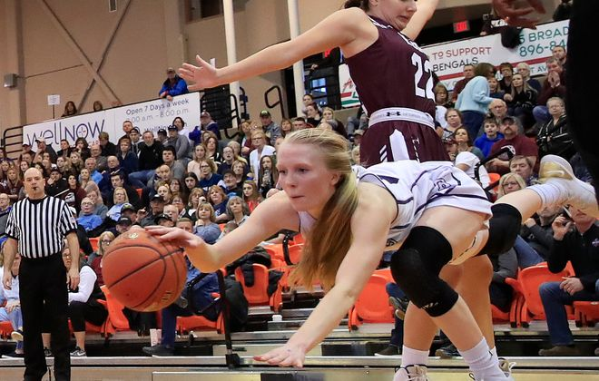 Franklinville guard Danielle Haskell reaches for a loose ball against Elba during the second half of the Far West Regional Class D Championship at the Buffalo State Sports Arena on Saturday, March 9, 2019. (Harry Scull Jr./Buffalo News)