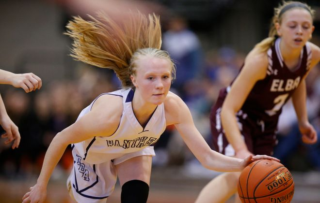 Franklinville guard Danielle Haskell dribbles against Elba during the second half of the Far West Regionals Class D Championship at the Buffalo State Sports Arena on Saturday, March 9. (Harry Scull Jr./Buffalo News)
