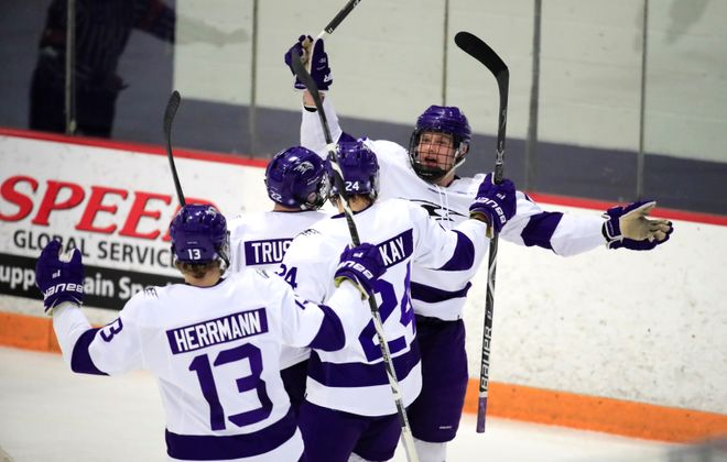 Niagara forward Jared Brandt celebrates his goal against Canisius during second period action at Dwyer Arena during game three of the Atlantic Hockey Tournament on Sunday, March 10, 2019. (Harry Scull Jr./Buffalo News)