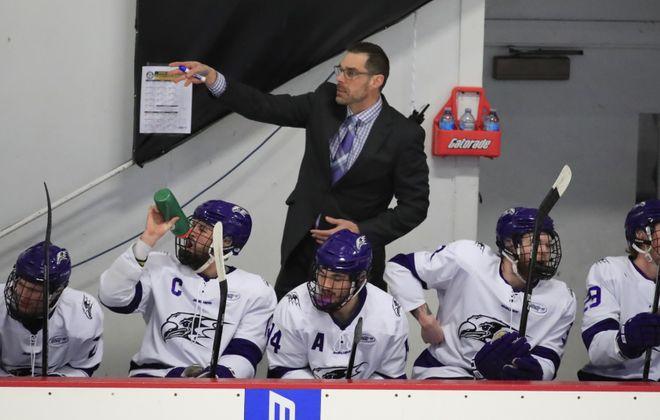 Niagara coach Jason Lammers leads the Purple Eagles into the Atlantic Hockey semifinals (Harry Scull Jr./Buffalo News)