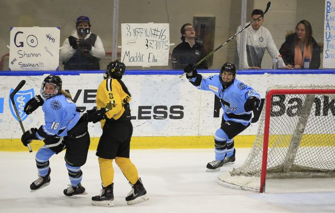 Beauts forward Maddie Elia, left) celebrates her goal against the Boston Pride (Harry Scull Jr./Buffalo News)