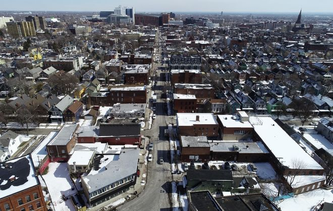 The view looking east down Allen Street from over Days Park in Allentown, Friday, March 8, 2019. (Derek Gee/Buffalo News)