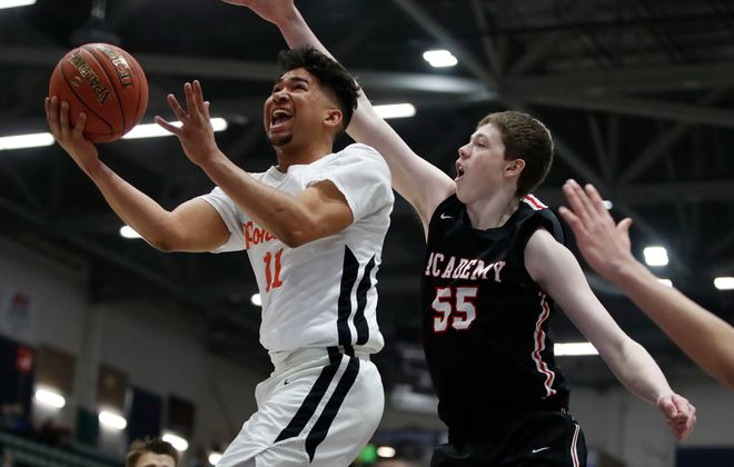 Park guard Noah Hutchins drives to the basket against Albany Academy during the first half of the New York State Federation Class A Semi-final at te Cool Insuring Arena on Saturday, March 23, 2019. (Harry Scull Jr./Buffalo News)