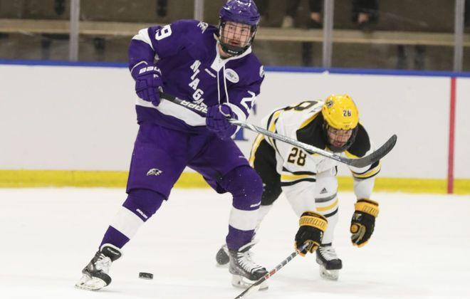 Niagara forward Ludwig Stenlund (29) battles American International  forward Elijiah Barriga (28)  in the AHA final. (James P. McCoy/Buffalo News)