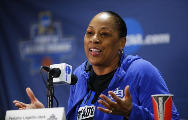 Buffalo coach Felisha Legette-Jack speaks to the media. (Harry Scull Jr./Buffalo News)