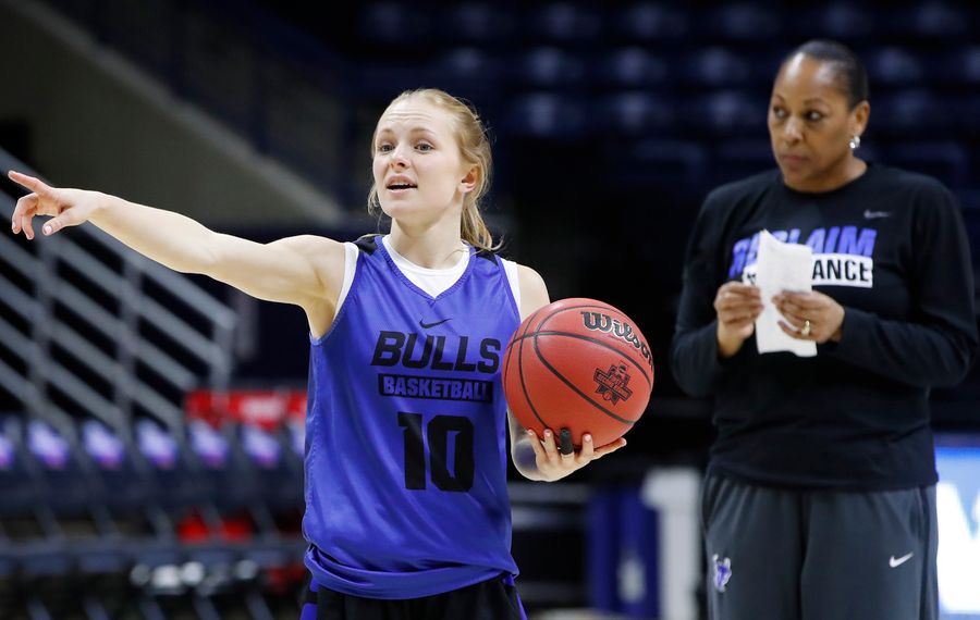 Buffalo guard Hanna Hall directs a play during practice at the Gampel Pavilion on Thursday, March 21, 2019. (Harry Scull Jr./Buffalo News)