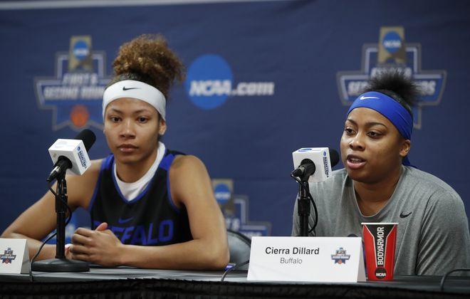 Buffalo players Summer Hemphill and Cierra Dillard speak to the media on Thursday. (Harry Scull Jr./Buffalo News)