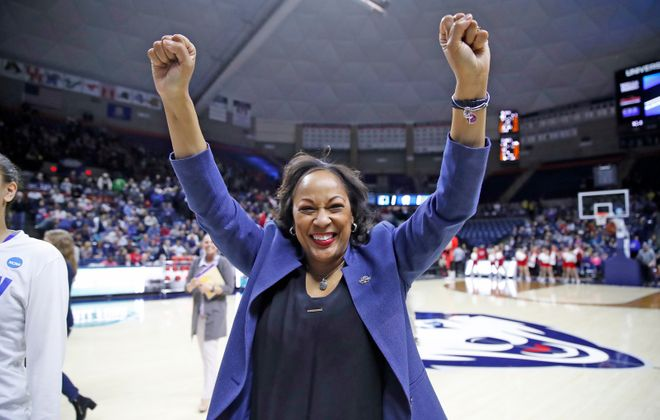 Buffalo coach Felisha Legette-Jack celebrates a victory over Rutgers in the NCAA Tournament on Friday, March 22, 2019. (Harry Scull Jr./Buffalo News)