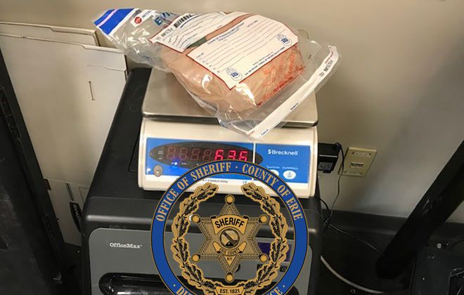 Narcotics investigators with the Erie County Sheriff's Office, Buffalo Police Department and Homeland  Security seized about 600 grams of the powerful opioid fentanyl during a raid at a home on Zenner Street in Buffalo in March. (Photo courtesy of the Erie County Sheriff's Office)