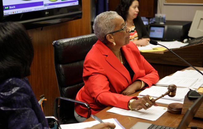 Dr. Barbara Seals Nevergold calls a Buffalo Board of Education meeting to order.  (News file photo)