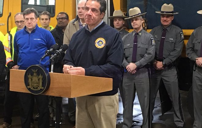 Gov. Andrew M. Cuomo spoke briefly in Hamburg on Sunday afternoon, expressing concerns about power company reaction time during recent storms, before departing in a state SUV. (Jay Tokasz/Buffalo News)