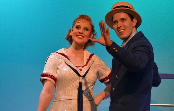 """Katie Egan as Reno Sweeney and Brian Klimowski as Billy Crocker in the Lancaster Opera House production of """"Anything Goes."""""""