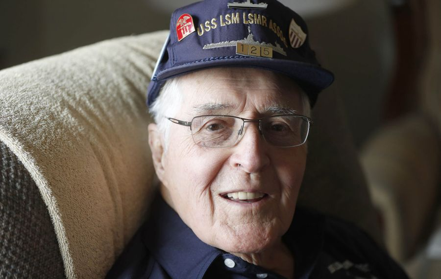 U.S. Navy veteran Allen W. Judd served on an amphibious assault ship in the Pacific during World War II. He's shown at his home in Tonawanda on Wednesday, March 20, 2019. (Mark Mulville/Buffalo News)