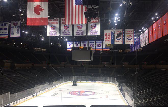 The banners are back in place at the renovated Nassau Coliseum (Mike Harrington/Buffalo News).