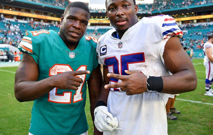 Former Dolphins running back Frank Gore is close with Bills running back LeSean McCoy. The two are now teammates in Buffalo. (Getty Images)