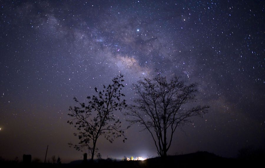 This long-exposure photograph shows the Milky Way in the sky above Taungdwingyi, Myanmar.  (YE AUNG THU/AFP/Getty Images)