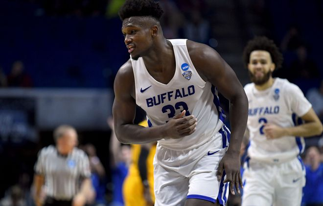 Nick Perkins of the Buffalo Bulls celebrates his 3-pointer against the Arizona State Sun Devils  (Photo by Harry How/Getty Images)