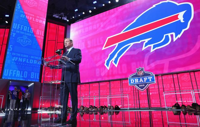 NFL Commissioner Roger Goodell announces a pick by the Buffalo Bills during the first round of the 2018 NFL Draft at AT&T Stadium on April 26, 2018 in Arlington, Texas.  (Photo by Tom Pennington/Getty Images)