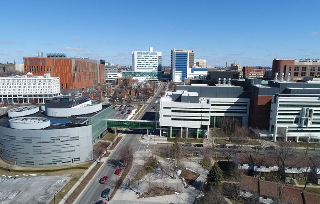 A full-scale crisis response drill will take place Thursday on the 120-acres Buffalo Niagara Medical Campus and be centered at the University at Buffalo Jacobs School of Medicine and Biomedical Sciences, the tan brick building at left. (Derek Gee/Buffalo News)