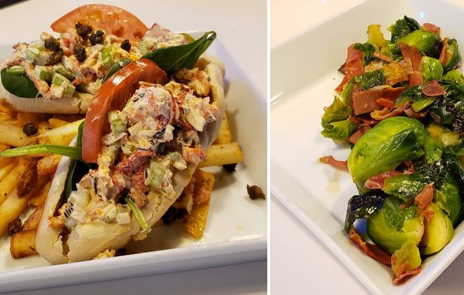 Mini lobster rolls, left, and brussels sprouts with prosciutto are both small plates at Hooked. (via Hooked)