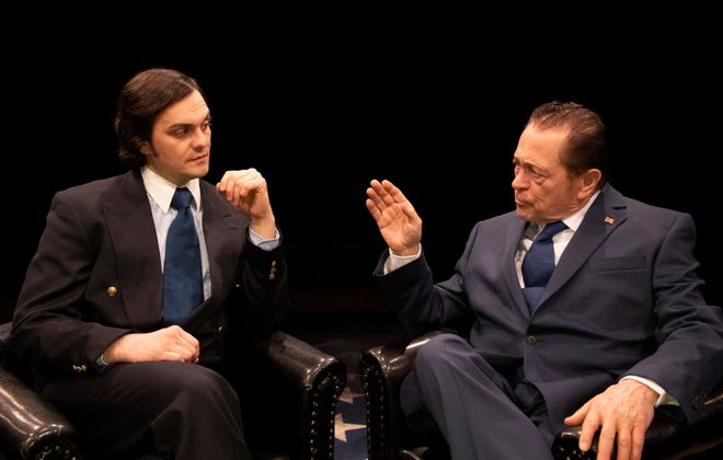 """Adriano Gatto as David Frost and Jack Hunter as Richard M. Nixon spar off well in """"Frost/Nixon"""" at the Irish Classical Theatre. (Photo courtesy by Gene Witkowski.0"""