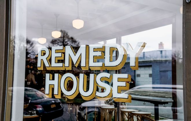 Jake Moslow's handmade creations adorn a wide variety of local businesses, including Oxford Pennant and Remedy House. (Dave Jarosz)
