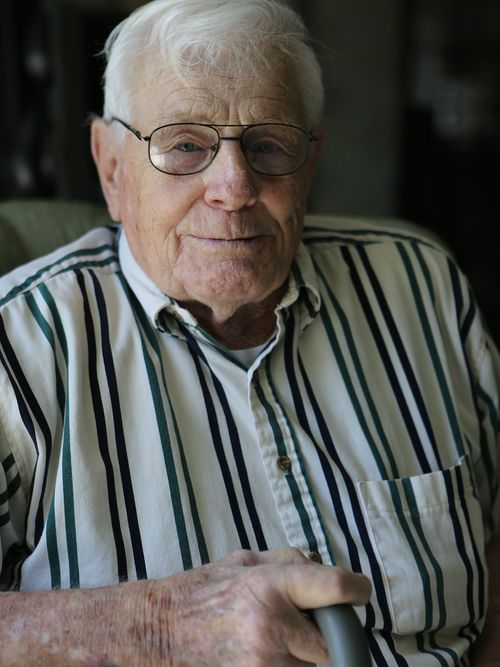 """World War II veteran Heinz """"Dutch"""" Wolf, in his Amherst home, Tuesday, May 13, 2014. (News file photo)"""
