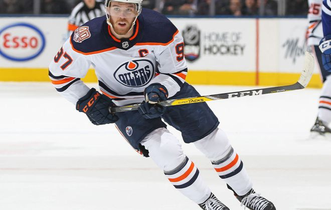 Connor McDavid hits town third in the NHL in scoring with 90 points (Getty Images).