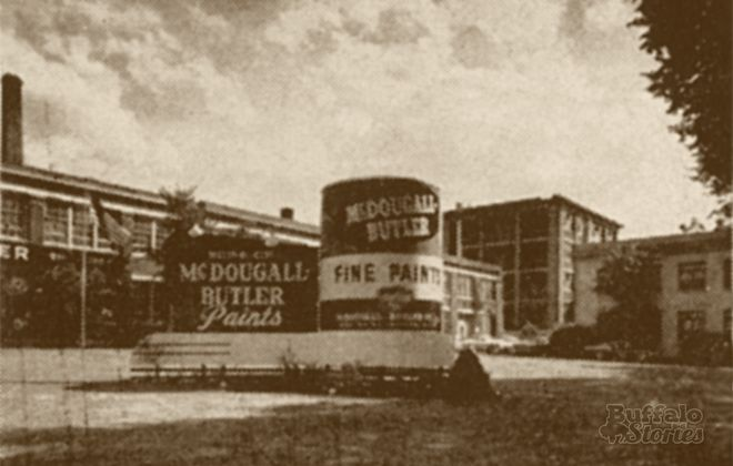 The giant paint can on the lawn of the McDougall-Butler Paint  Company, Main at Hertel, was a rotating landmark for a quarter-century. (Buffalo Stories archives)