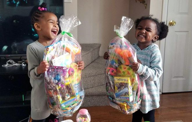 Mercedes Wilson's 4-year-old twins look forward to their Easter baskets, while her older children appreciate the gift cards.