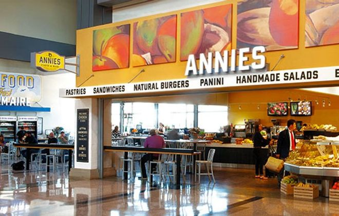 Annies – which offers burgers, pastries and other fare and which has proven popular at the Austin, Texas,  airport – will be part of a revamped restaurant area at Buffalo Niagara International Airport, as shown in this rendering.