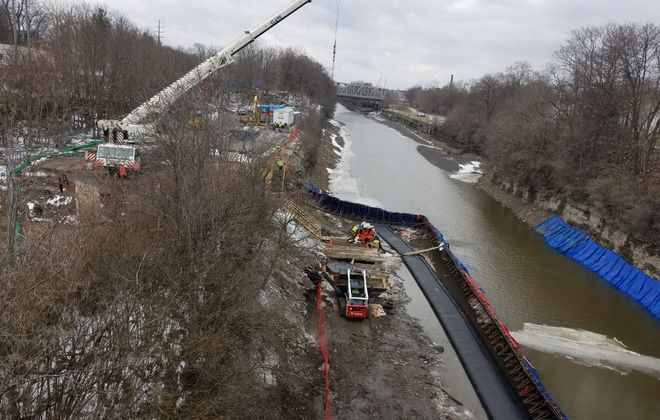 The site of the removal of coal tar-contaminated sediment from the Erie Canal in Lockport March 11, 2019. (Thomas J. Prohaska/Buffalo News)