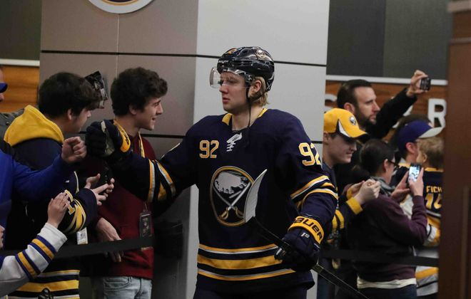 Alexander Nylander prepares to hit the KeyBank Center ice prior to Sunday's game against Columbus. (James P. McCoy/Buffalo News)