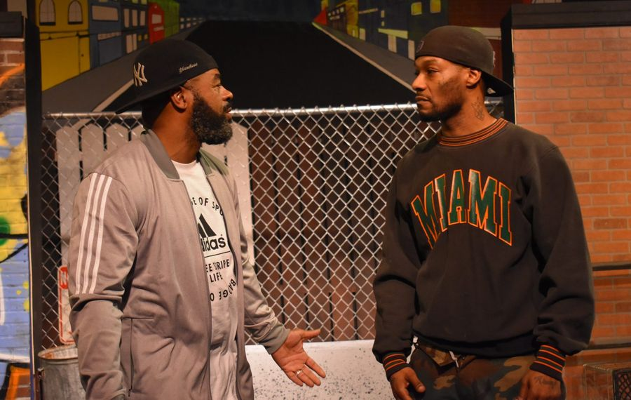 """Anthony Clark, left, and Arterist """"kingdom Krump"""" Molson star in """"The Sidewalk Stageplay"""" presented by Paul Robeson Theatre at the African American Cultural Center."""