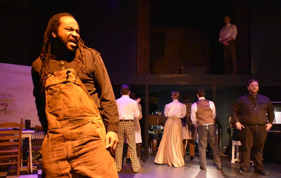 """Brandon Williamson gives a complex performance as John Conley in """"Parade,"""" presented by American Repertory Theater of WNY. (Photo by Katherine Butler)"""
