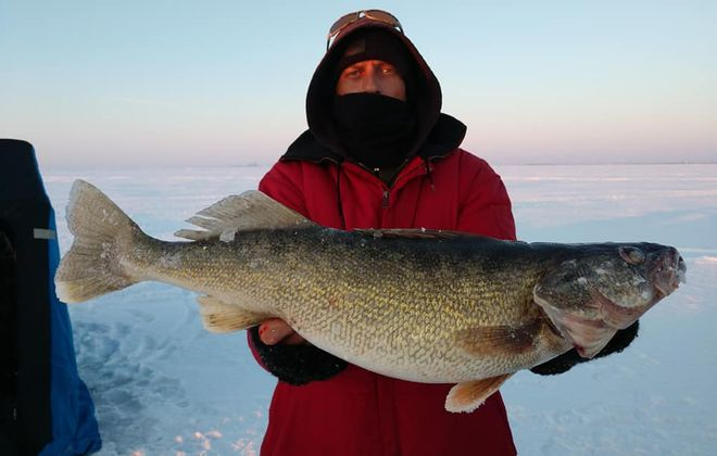 Tom Brunn of South Wales caught some bomber walleye like this one through the ice off Hamburg in March. (Contributed photo)