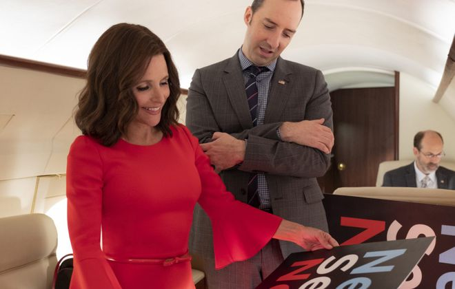 """Selina Meyer (Julia Louis-Dreyfus) and Gary Walsh (Tony Hale) in """"Veep."""" (Colleen Hayes/HBO)"""