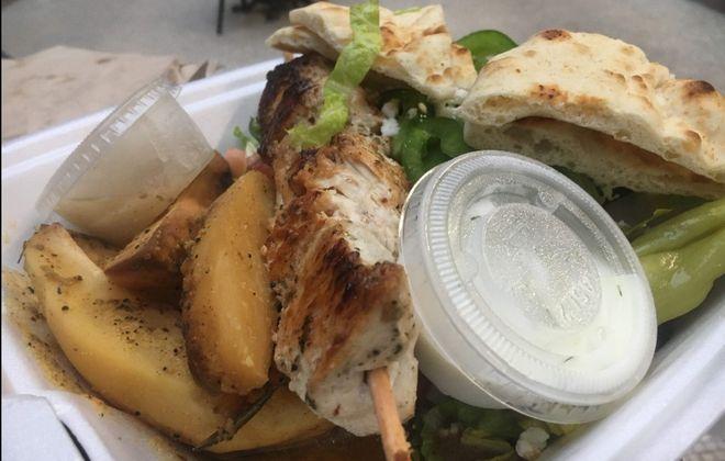 Chicken souvlaki platter at Souvlaki Fast in EXPO Market. (Caitlin Dewey/Buffalo News)