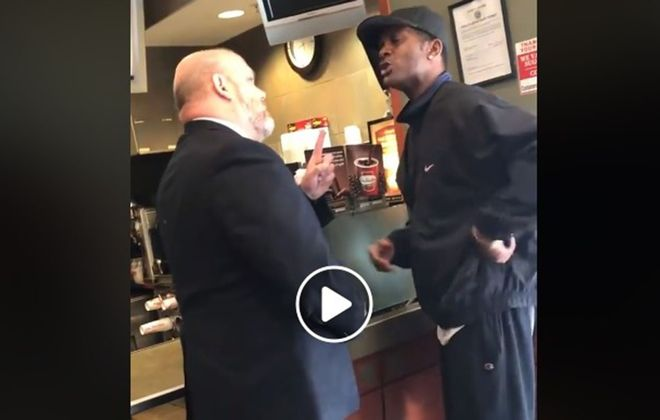 A screenshot of a July 2018 video taken inside a downtown Tim Hortons shows Darryl Mingo of Buffalo, right, who has filed a federal lawsuit against Buffalo police and security guard George Bailey, left, (Image courtesy of Law Offices of Matthew Albert)