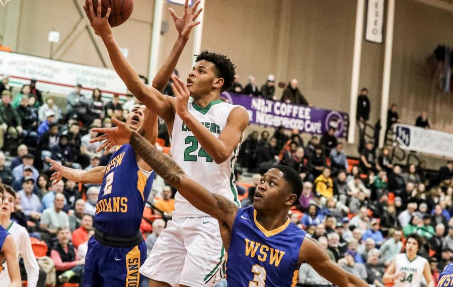 Roddy Gayle scores for Lewiston-Porter during the Section VI Class A final against West Seneca West. (James P. McCoy/Buffalo News)