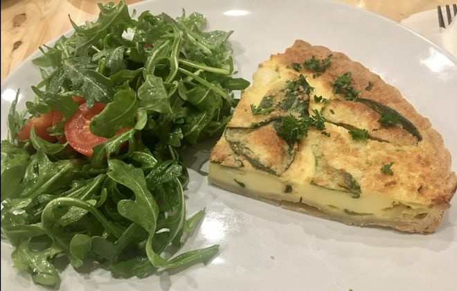 The veggie quiche ($8) is a buttery, savory, quintessentially French breakfast item done deliciously by the book at Mon Ami. (Phil Wagner/Special to The News)