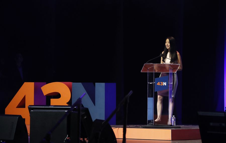 HiOperator CEO Liz Tsai, shown at the 2018 43North competition, hopes to hire at least 50 local people by year's end. (News file photo)