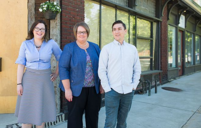 From left, JAM partners Amber Small, Monica Cichon and Jesse Crouse, who opened a coffee shop in the Parkside neighborhood on March 30. (via JAM)