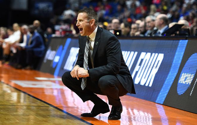 Buffalo coach Nate Oats yells from the sidelines Friday against Arizona State in Tulsa, Okla.	(Stacy Revere/Getty Images)
