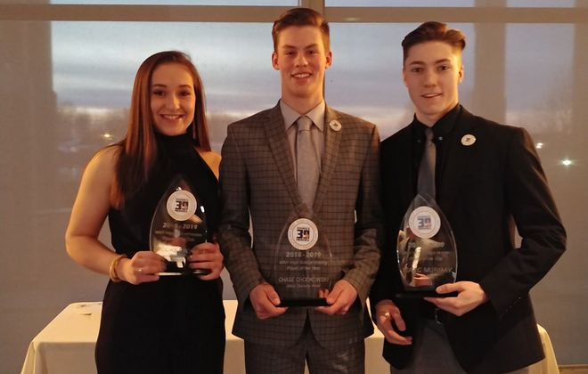 Hasek's Heroes WNY High School Hockey Players of the Year: Girls Fed - Brooke Becker (Frontier/Lake Shore/Orchard Park); Boys Fed - Chase Chodowski (West Seneca West); and Club league - Isaac Murray (Buffalo Explorers). (Miguel Rodriguez/Buffalo News)