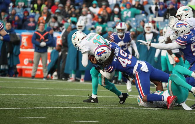 Buffalo Bills middle linebacker Tremaine Edmunds (49) sacks Miami Dolphins quarterback Ryan Tannehill (17) in the fourth quarter at New Era Field in Orchard Park, NY on Sunday, Dec. 30, 2018.  James P. McCoy/Buffalo News