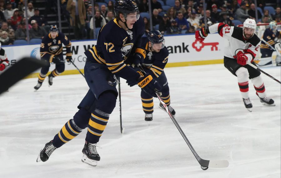 Tage Thompson was acquired by Buffalo from the St. Louis Blues in July. (James P. McCoy/Buffalo News)